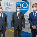 De gauche à droite: Bertrand Levrat, directeur des HUG, Mauro Poggia, conseiller d'Etat chargé du Département de la sécurité, de l'emploi et de la santé, et Dominique Perron, président du conseil de fondation de PRO.
